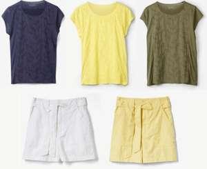 s.Oliver Damen-Shirt mit Lochstickerei für 14,99€ / Shorts aus Leinenmix für 12,99€ (+ 0,99€ Versand)