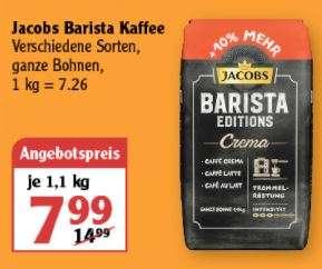 [Globus] Jacobs Barista Kaffee versch. Sorten, 1,1kg für 7,99€