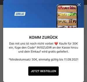 Kostenloser Versand Gorillas MBW: 30€ (Personalisiert?)