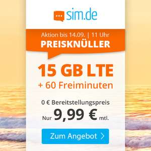 Drillisch KW36 Angebote: 15GB sim.de + 60 Freiminuten mtl. 9,99€ I 3GB / 12GB Handyvertrag.de mtl. 4,99€ / 11,99€ [Telefonica-Netz]