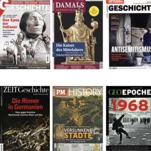 Geschichts-Magazine im Abo mit bis zu 59 % Rabatt oder Prämie - z.B. G/Geschichte für 44,95 €   Damals für 102,42 € + 100 € Amazon-Gutschein