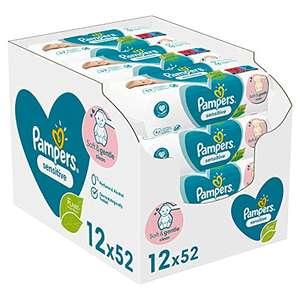 Pampers Sensitive Baby Feuchttücher, 2496 Tücher (48 x 52), 23,40€ möglich bei 5 Spar-Abos, Amazon Prime