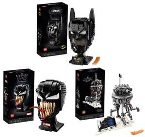 LEGO 76182 DC Batman Helm für 36,79€ / 76187 Marvel Spider-Man Venom Maske für 38,39€ / 75306 Star Wars Imperialer Suchdroide für 42,39€