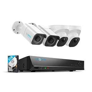 Reolink 4K Überwachungskamera Aussen Set, 4X 8MP PoE IP Kamera und 2TB, Innen Outdoor, IP66, Nachtsicht mit Audio, Bewegungsmelder
