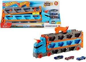 Hot Wheels GVG37 - 2-in-1 Rennbahn-Transporter zur Aufbewahrung mit 3 Fahrzeugen [Prime oder Abholstation]