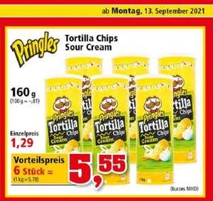 6× 160g Pringles Tortilla Chips (kurzes MHD!) Sour Cream (5,78⅛€/kg)
