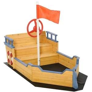 Outsunny Holzspielboot für Kinder mit Sandkasten naur, blau