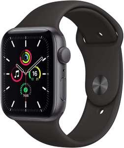 Apple Watch SE (GPS, 44 mm, Aluminiumgehäuse) Space Grau mit Sportarmband Schwarz