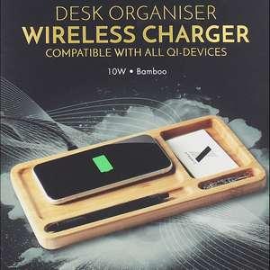 XTRONIC Desk-Organizer aus Bambus mit Qi-Ladefunktion (Wireless Charger)