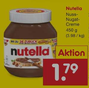 Netto MD 450 g Nutella scheinbar bundesweit + Beim Kauf von Nutella bis zu 3€ zurück auf Brot, Brötchen und/oder Croissants