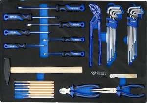Brillant Tools Werkstattwagen-Einlage mit Schraubendrehern, Zangen, Hämmer, Schwarze Weichschaumeinlage, 37-TLG @amazon