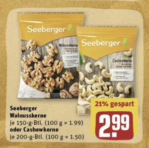 Seeberger Cashewkerne / Walnusskerne 200g + 15fach Payback Punkte auf Seebeeger + gratis personalisierter Christbaumanhänger möglich