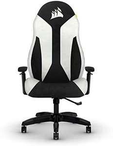 Corsair TC60 Fabric Gaming-Stuhl in weiss [Entspannte Passung, Weicher Stoffbezug, Integrierte Lendenstütze, Verstellbare Armlehnen]