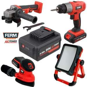 FERM AX-Power 20V System Teile reduziert: Akkus, Arbeitsleuchte, Bohrschrauber, Winkelschleifer u.w.