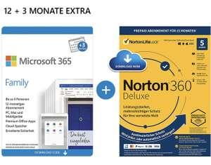 Microsoft 365 Family 12+3 Monate + Norton oder McAfee