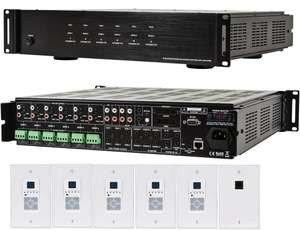 Monoprice MPR-SG6Z 6-Zonen-Controller & -Verstärker inkl. 6 Wand-Controllern, Zubehör & Montagematerial
