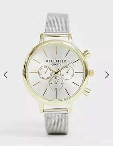 Bellfield Damen Armbanduhr mit goldenem Gehäuse und silbernem Netzarmband