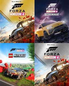 Forza Horizon 4 Sammeldeal · z. B. Ultimate für 27,78€ · Deluxe Add-Ons Fortune Island Lego Hot Wheels Car Pass · Xbox & PC · MS Store ISL