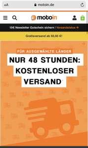 Kostenloser Versand bei motoin.de