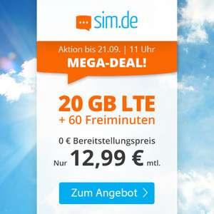 [Telefonica-Netz] 20 GB LTE sim.de Tarif mit 60 Freiminuten für mtl. 12,99€ (VoLTE, WLAN Call, 50 Mbit/s, 3 Monate Kündigungsfrist)
