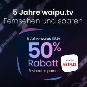 waipu.tv B-Day Deal: 5 Monate -50% auf das Perfect Plus Paket (mtl. 6,50€, mtl. kündbar) mit 142 HD Sendern, 100h Aufnahmespeicher, etc.