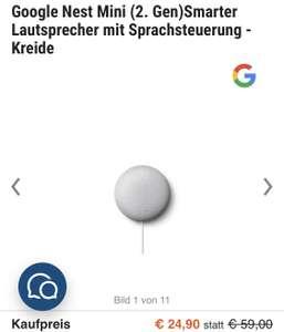 Google Nest Mini @Cyberport für 24,90€ +4,99€ Vsk