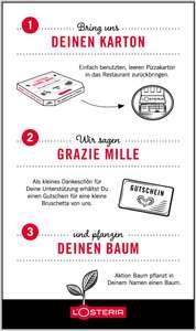 [lokal / L'Osteria] Gutschein für kleine Bruscetta & Baum-Pflanzung bei Abgabe eines Pizza Kartons