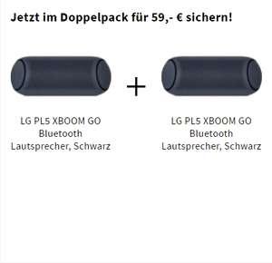[Saturn] 2 x LG PL5 XBOOM GO Bluetooth Lautsprecher, Schwarz(Doppelpack) für 59,-€ oder Einzeln für je 29,-€
