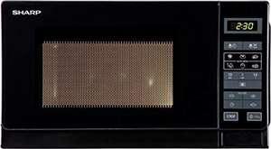 Sharp R742BKW 2-in-1 Mikrowelle mit Grill / 25 L / 900 W / 1000 W Grill / LED-Display, 8 Automatikprogramme