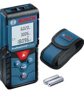 Bosch Professional Laser Entfernungsmesser GLM 40 Flächen, max. Messbereich: 40 m, 2x 1,5-V Batterien, Schutztasche (Prime)