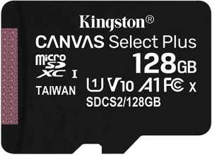 Kingston Canvas Select Plus 128GB MicroSD (100 MB/s, Class 10, UHS-I, V10, A1) [Prime]