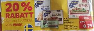 Wasa Knäckebrot Sesam oder Roggen dünn Packung (20 % Rabatt auf ALLE Wasa-Artikel) [Kaufland offline bundesweit]