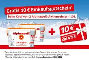 2x Alpinaweiß Original für 41,35€/Stück + 10€ Bauhaus Einkaufsgutschein [ BAUHAUS TPG ]