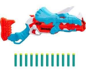 Hasbro - Nerf DinoSquad Tricera-Blast Dart-Blaster, aufklappbarer 3-Dart Lauf, inkl. 12 Nerf Darts [Thalia KultClub]