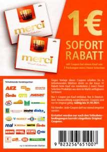 1€ Rabatt Coupon für 2 Packungen Merci Finest Selection