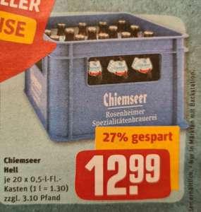 [REWE Center] - 20x 0,5 Liter Kasten Chiemseer Helles Bier für 12,99€ + mit 15fach Payback 12,09€ (ggfs. noch weniger)