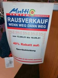 Lokal : Rausverkauf im real Markt in Gomaringen ( Multicenter) 40% auf bestimmte Kategorien, z. B. Sportkleidung und Sportschuhe
