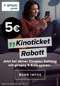 5€ Gutschein für Cineplex Tickets bei Bezahlung mit giropay/paydirekt