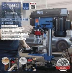 Scheppach Tischbohrmaschine, DP16VLS 5 Geschwindigkeiten für Holz, Metall und alle gängigen Kunststoffe