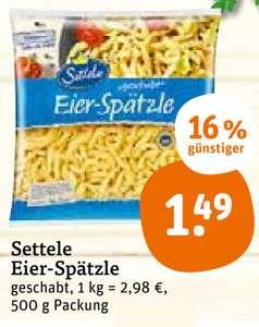 Settele Eier-Spätzle 500g für 1,49€ + 0,50€ marktguru Cashback [ TEGUT ]