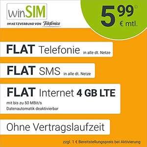 [amazon] Winsim Drillisch Allnet flat (Telefonie und SMS), 4GB LTE ohne Laufzeit im Telefonica Netz
