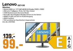 """[Regional Saturn Berlin/Potsdam) Lenovo D27-30 LCD-Monitor (69 cm/27 """",1920 x 1080 Pixel, Full HD,4 ms Reaktionszeit, 75 Hz, VA LCD) für 99€"""