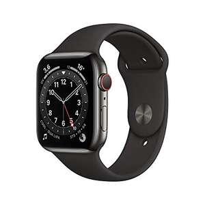 Apple Watch Series 6 GPS + Cellular 44 mm Edelstahlgehäuse Graphit mit schwarzem Sportarmband