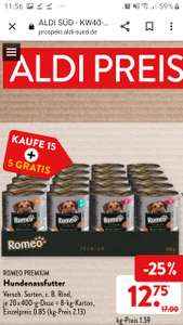 Aldi Süd 08.10.+09.10.: 20x (5 davon gratis) Romeo Premium Hundenassfutter , je Dose 400g , Kartonverkauf= 20Dosen nehmen=5Dosen gratis