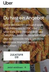 Uber Eats Gutschein Erstbestellung 20 EUR (Freebie möglich)