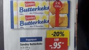 Lidl: Doppelpack Butterkekse 400g der Lidl Eigenmarke Sondey. Kilopreis: 2,38€, ab 27.09.21