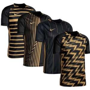 Nike ClubZone Trikotsets Sonderedition in schwarz / gold: Trikot (4 versch. Design) + Shorts + Stutzen (Gr. S - XXL; 30 - 50)