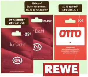 REWE: 20% Rabatt auf C&A Geschenkkarten (jeder Kartenwert) / 10% Rabatt auf 20€ OTTO Geschenkkarten / 20% Rabatt auf 10€ DEEZER Guthaben
