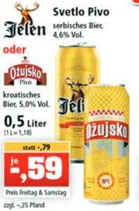 Wochenendaktion: kroatisches Ozujsko Pivo Bier und serbisches Jelen Pivo Bier 0,5L für 59cent [Thomas Philipps]