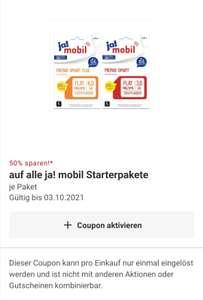 Rewe / ja!mobil Prepaid Karte Start Paket 1/2 Preis über Rewe-App, Freebie Dank 500 Payback-Punkten/ ggf. Personalisiert/profit mgl.